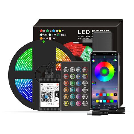 Wifi inteligentes LED RGB luces de tira 16.4 pies. 5050 luces cambiantes del color con voz y APP y 24 teclas de control remoto de la cinta de control de las luces de Navidad luz de la decoracion para el Festival de la fiesta en casa, Negro, enchufe de la