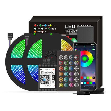 Wifi inteligentes LED RGB luces de tira 32.8ft. 5050 luces cambiantes del color con voz y APP y 24 teclas de control remoto de la cinta de control de las luces de Navidad luz de la decoracion para el Festival de la fiesta en casa, Negro, enchufe de la UE,