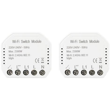 Wifi Interruptor de luz inteligente Modulo DIY Breaker APP Control remoto, 2 piezas