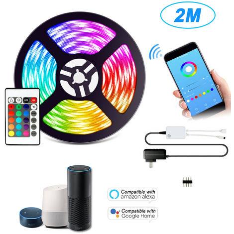 WIFI LED Franja Kit de 2m / 6.7ft Longitud 5050 RGB IOT vida APP control remoto Cambiar de color impermeable 12V Fuente de alimentacion inteligente luz de tira para la decoracion del hogar Bar compatible con Amazon Alexa Pagina principal de Google
