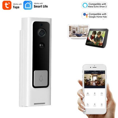 Wifi Smart Security Sonnette Hd 1080P Sans Fil Visuel Interphone Enregistrement Videophone Detecteur De Mouvement Pir Antipluie Tuya, Noir Blanc, Version De Commande Vocale