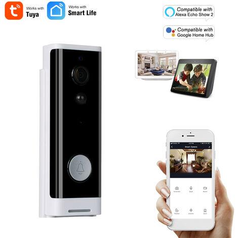 Wifi Smart Security Sonnette Hd 1080P Sans Fil Visuel Interphone Enregistrement Videophone Detecteur De Mouvement Pir Antipluie Tuya, Noir Et Blanc, Version Commande Vocale