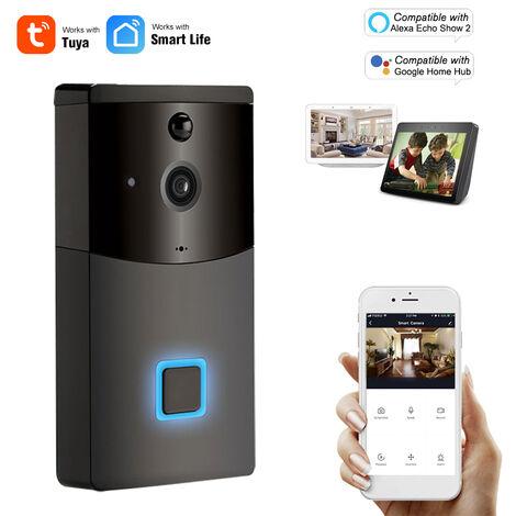 Wifi Smart Security Sonnette Hd 1080P Sans Fil Visuel Interphone Enregistrement Videophone Detecteur De Mouvement Pir Antipluie Tuya, Noir, Version A Commande Vocale