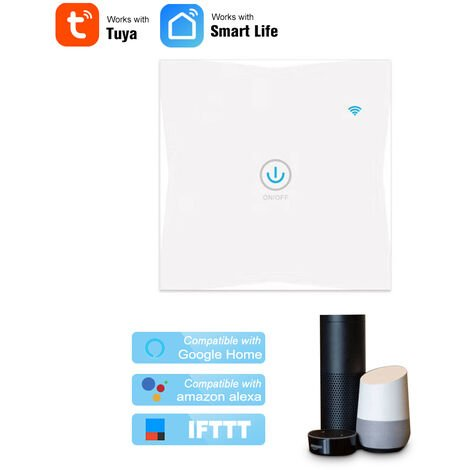 Wifi Smart Wall Touch Switch 1 Gang APP Control White