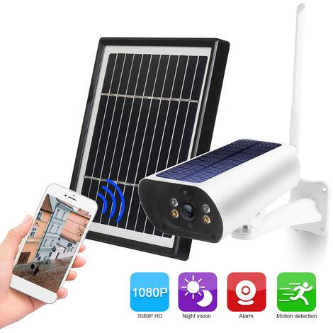 Wifi Solaire Camera 1080P Sans Fil Minitor Plug-In Gratuit Support Code Adaptive Rate Appel Vocal A Distance Wake Deux Panneau Solaire