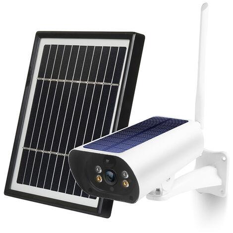 Wifi Solaire Camera 1080P Sans Fil Minitor Plug-In Gratuit Support Code Adaptive Rate Appel Vocal A Distance Wake Deux Panneau Solaire, Pas De Carte Sd Pas De Batterie