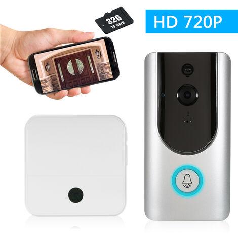 Wifi Sonnette Intelligente 720P Soutient La Vision Nocturne Infrarouge, 6 Lumiere Infrarouge, Avec Un Buzz Interieur, Blanc