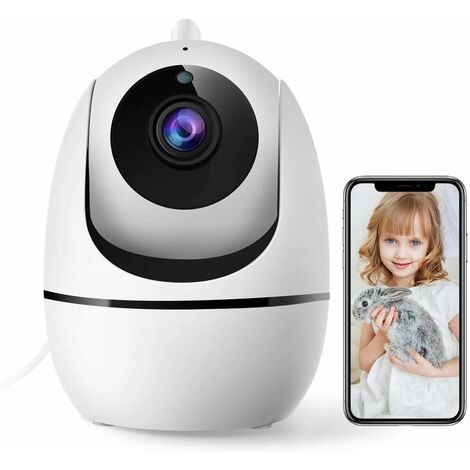WiFi Surveillance Camera, 1080P Indoor Camera, Wireless Video Surveillance, Human Motion Detection, Two-Way Audio, Night Vision, 8X Zoom, for Alexa / Baby / Animal-Pan / Tilt 360
