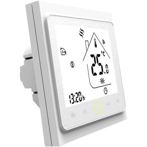 WiFi termostato con pantalla tactil LCD Display programable semanal inteligente Controlador de temperatura para agua / gas de la caldera 3A, White