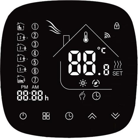 Wifi termostato con pantalla tactil LCD Display programable semanal inteligente Controlador de temperatura para caldera de calefaccion 5A, BHT-001GCLW