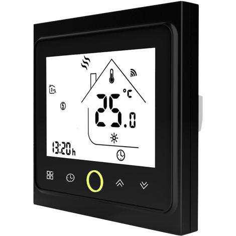 WiFi termostato con pantalla tactil LCD programable semanal inteligente Controlador de temperatura para la calefaccion electrica de suelo 16A, Negro