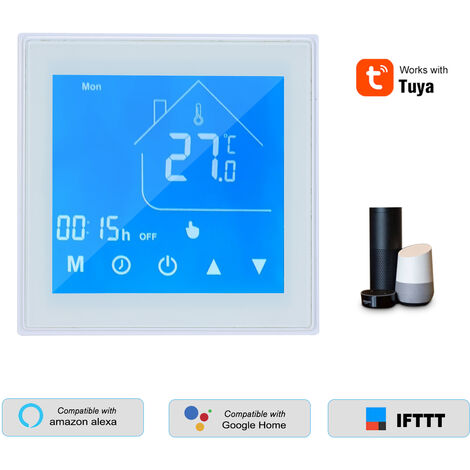 WiFi termostato inteligente Controlador de temperatura Display LCD programable para la Semana de la caldera de agua / gas Tuya Control de aplicacion compatible con Alexa pagina principal de Google, blanca