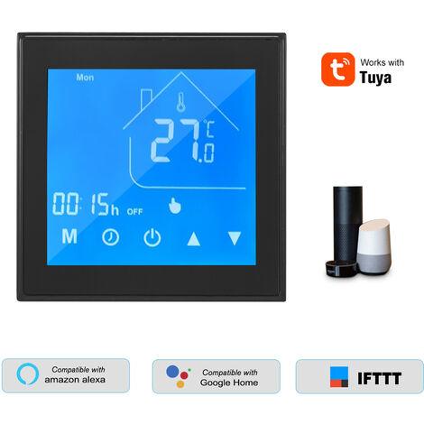 WiFi termostato inteligente Controlador de temperatura Display LCD programable para Semana electrico Suelo radiante Tuya Control de aplicacion compatible con Alexa pagina principal de Google, Negro