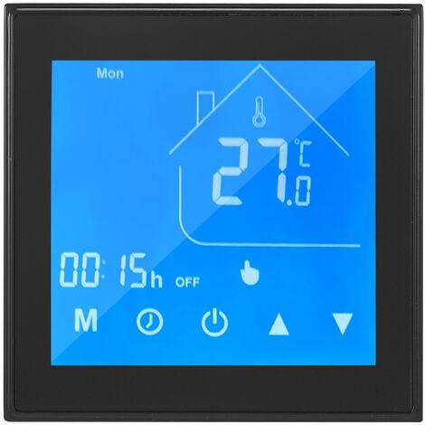 WiFi termostato inteligente Controlador de temperatura Pantalla LCD Semana programable para calentar el agua Ewelink Control de aplicacion compatible con Alexa pagina principal de Google, Negro