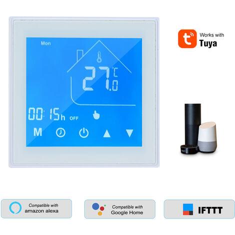 Wifi Thermostat Regulateur De Temperature Lcd Programmable Semaine Pour L'Eau / Gaz Chaudiere Tuya App Controle Compatible Avec Alexa Accueil Google, Blanc