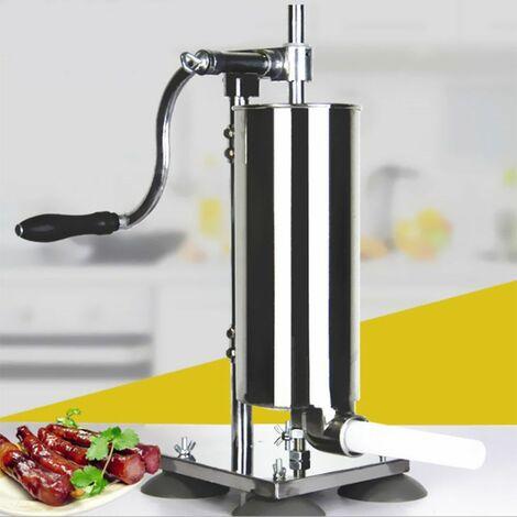 WIHHOBY 4L Poussoir à Saucisse Machine à saucisses Viande hachée 4xTubes (Ø 15/16/18/21 mm) en acier inoxydable