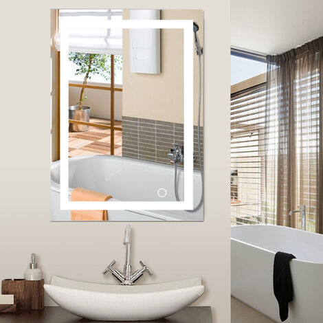 WIHHOBY 60x80cm LED Cold White Wall Mounted Bathroom Mirror 6500K High Quality Touch Switch