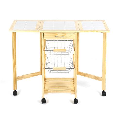 WIHHOBY Chariot de service desserte à roulettes pliable multi-rangements tiroir étagère paniers plan travail en bois