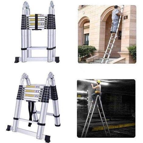 WIHHOBY Echelle Télescopique 5M en Aluminium avec 16 Echelons Charge Max 150KG Réglable 86-500CM