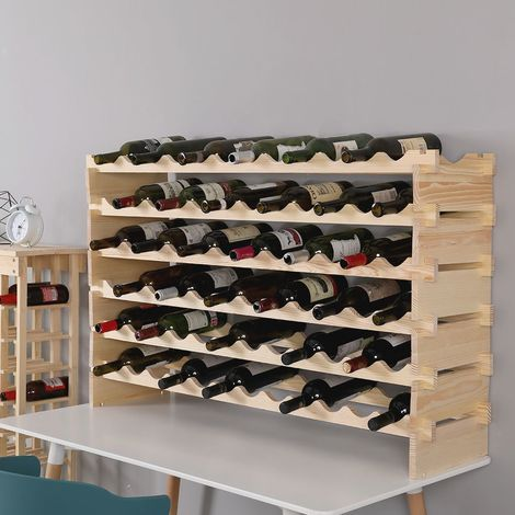WIHHOBY Étagère à Vin Casier à 72 Bouteilles en Bois de Pin Robuste Modulable 119 x 29 x 71,5 CM