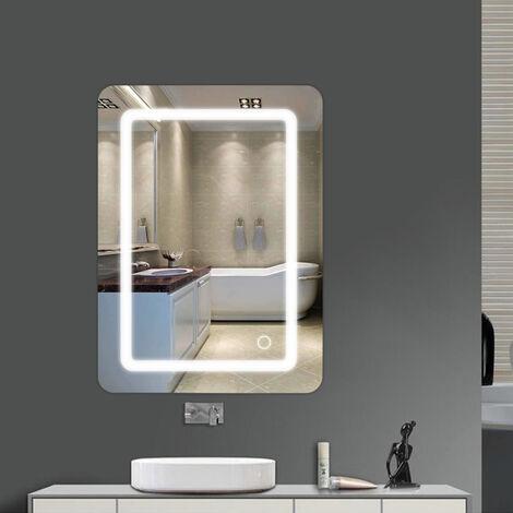 """main image of """"Wihhoby Miroir lumineux LED de salle de bain 9 W dimension 50 x 4 x 70 cm"""""""