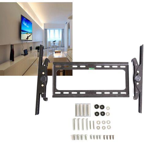 WIHHOBY Support Mural pour Télévision TV Muraux Plats Charge 60kg Ajustable Réglée de 15 Degrés