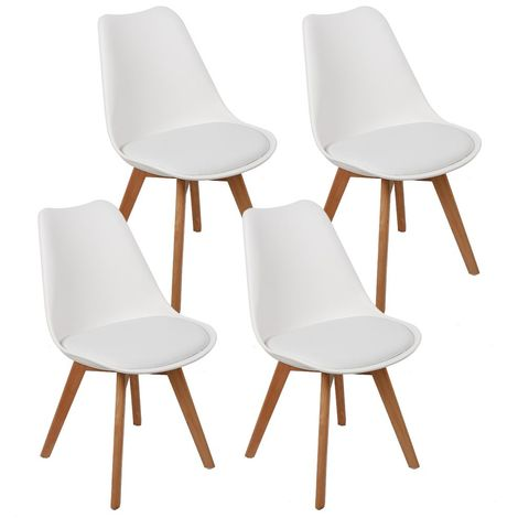 Wihobby 4 chaises design contemporain nordique scandinave - blanc