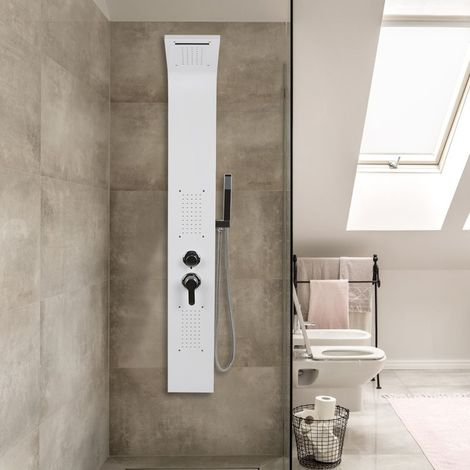 Wihobby Blanc Colonne de Douche Murale LED Panneau de Douche Design Moderne 140*22*7cm