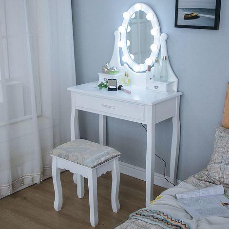 Wihobby Coiffeuse avec Lumière LED et Tabouret, Miroir Ovale Table de Maquillage à 3 Tiroirs Romantique Noir - Noir