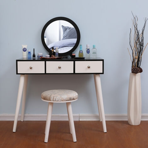 Wihobby Designer Dressing Table Round Mirror 3 Drawer with Slides 90 x 40 x 128 cm (L x W x H) White and Black
