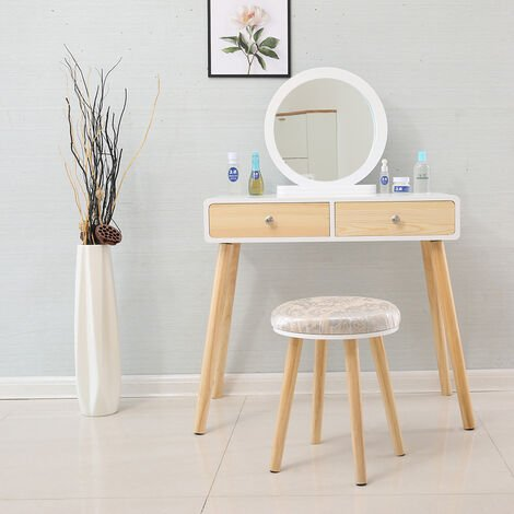 Wihobby Dressing Table 2 Drawer Round Mirror Stool - 80 x 40 x 125 cm (L x W x H)
