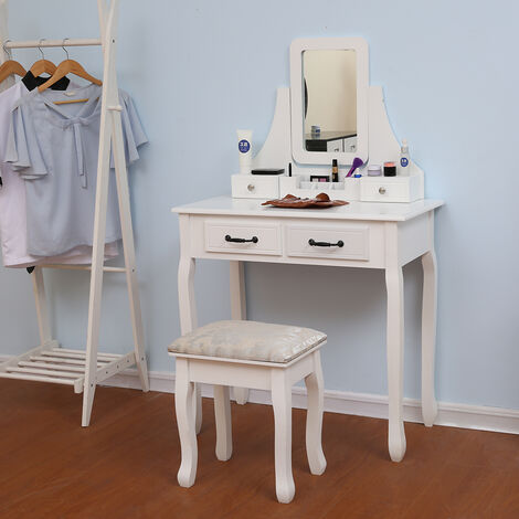 Wihobby Dressing Table Makeup Table with 4 Drawers and Mirror Stool Modern 80 * 40 * 130CM