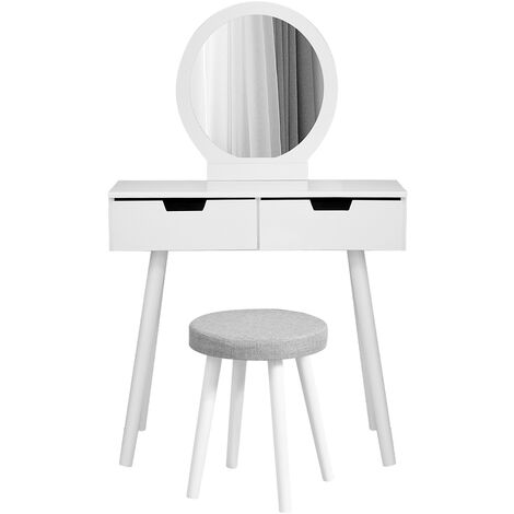 Wihobby Modern Dressing Table Makeup Table with Mirror and Stool, with 2 Spacious Sliding Drawers, Detachable Stool Cover