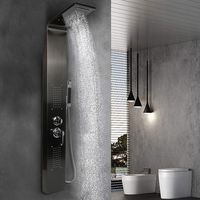 Wihobby Noir Colonne de Douche Murale LED Panneau de Douche Design Moderne 140*22*7cm