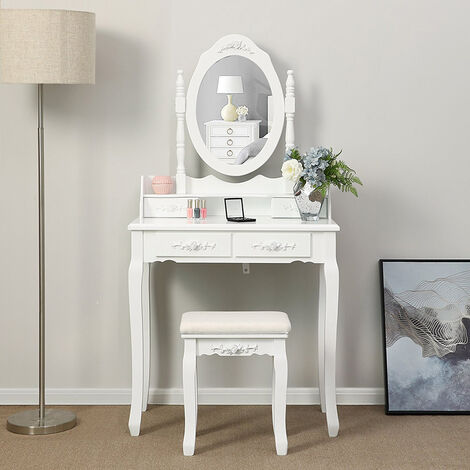 Wihobby White Dressing Table Makeup Table With Mirror And Stool 4 Drawers 145 X 75 X 40 Cm