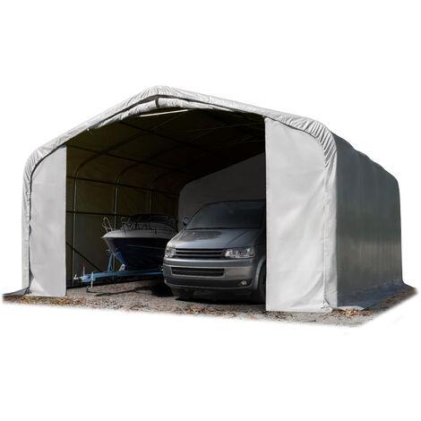 Wikinger tente-garage env. 6x6m tente de stockage carport porte d'env. 4,1x2,9m pour bateaux, campeur, tracteur, gris