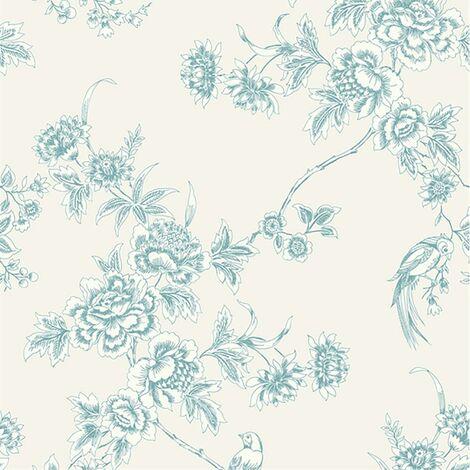 Wild Flower Wallpaper Superfresco Soft Blue White Cream Graham Brown