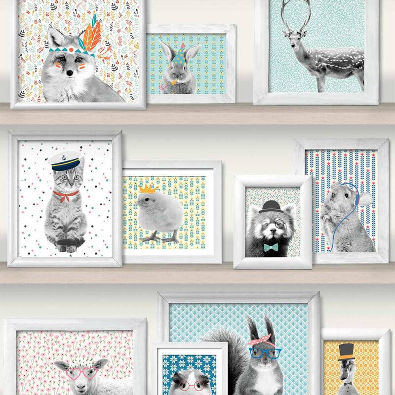 Image of Wallpaper Animal Photo Frames Multicolour L325-01 - Multicolour - Dutch Wallcoverings