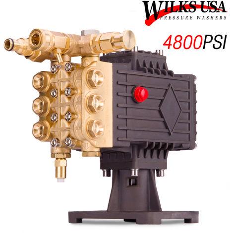 Wilks-USA - Heavy -Duty Pressure Washer Pump (4800 PSI) - Petrol Brass Head Up-to 15Hp Engine
