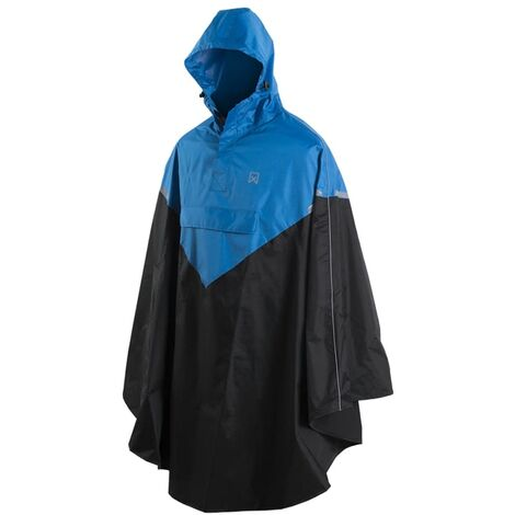 Willex Poncho de lluvia con capucha talla L/XL azul y negro 29220 - Azul