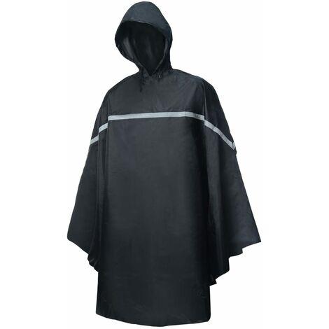 Willex Poncho de lluvia con capucha talla única negro - Negro