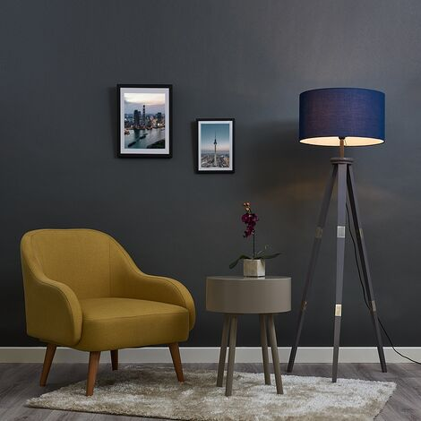Willow 151cm Wooden Tripod Floor Lamp in Grey with Fabric Shade