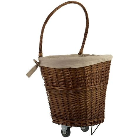 Willow Basket,Natural / Natural Liner,On Wheels