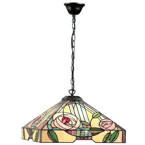 Willow Large Tiffany Style 3 Light Ceiling Pendant Floral Design Glass Shade