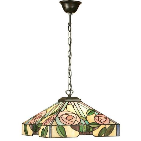 Willow Medium Tiffany Style 3 Light Ceiling Pendant Floral Design Glass Shade