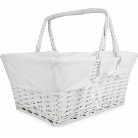 """main image of """"Willow Storage Basket with Cotton Lining   M&W White - White"""""""