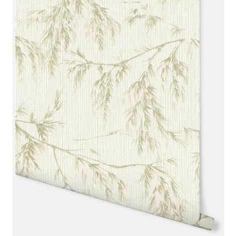 Willow Tree Cream & Green Wallpaper - Arthouse - 698205