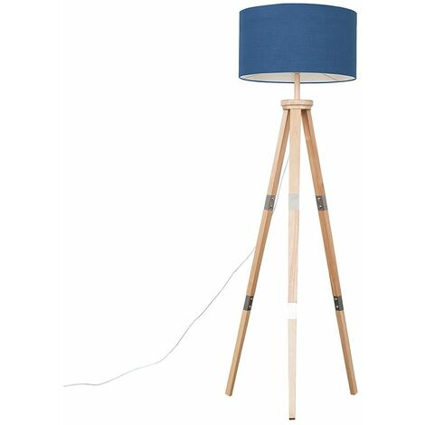 Willow Tripod Floor Lamp In Light Wood + LED Bulb - Beige & Gold - Brown