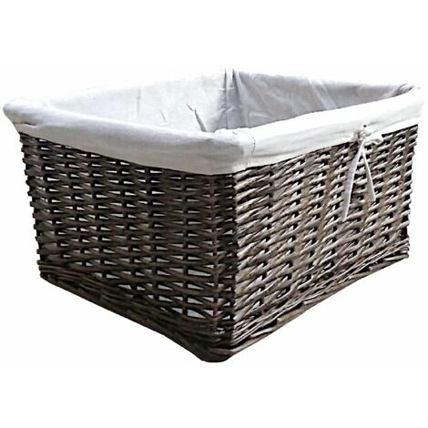 Willow Wicker Wider Big Deep Nursery Organiser Storage Xmas Hamper Basket Lined
