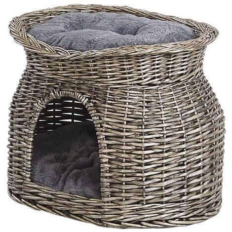 Willow Wood Cat Basket 50 x 35 cm Grey SALBAS